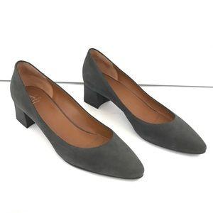 Aquatalia Phoebe Suede Gray Block Heels